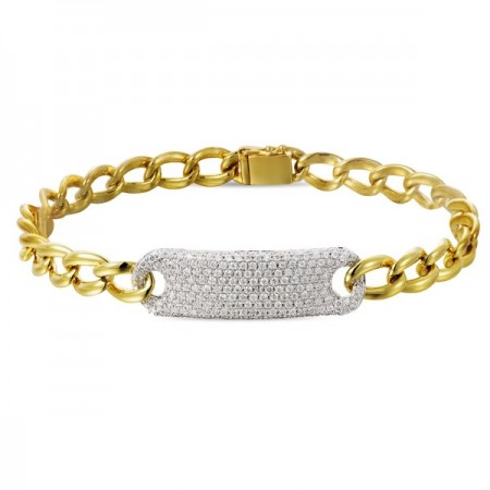 14K WHITE AND YELLOW GOLD DIAMOND CHAIN LINK BRACELET