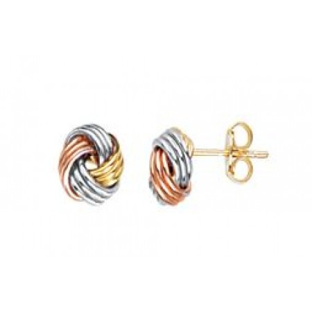 14K WHITE AND YELLOW GOLD TRIPLE TUBE LOVEKNOT STUD EARRINGS