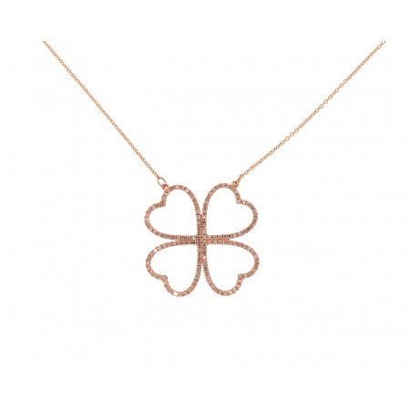 14K ROSE GOLD DIAMOND CLOVER NECKLACE
