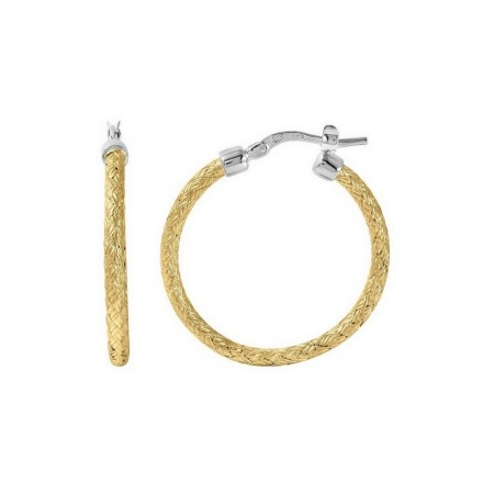 STERLING SILVER 35 X 3MM WOVEN HOOP EARRINGS WITH 18K YELLOW GOLD FINISH.