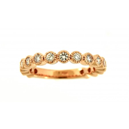 14K ROSE GOLD DIAMOND BEZEL SET BAND SET