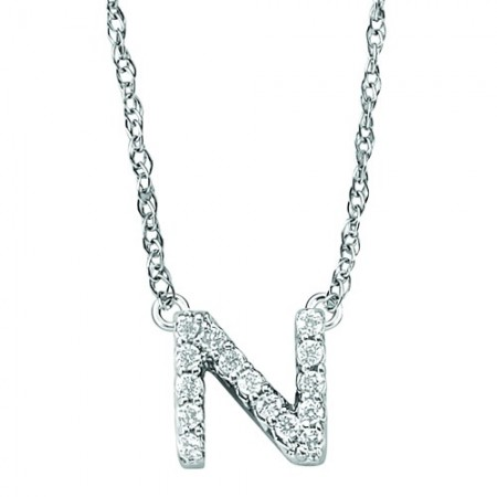 "18"" 14K WHITE GOLD DIAMOND INITIAL ""N"" PENDANT"