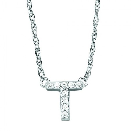 "18"" 14K WHITE GOLD DIAMOND INITIAL ""T"" PENDANT"