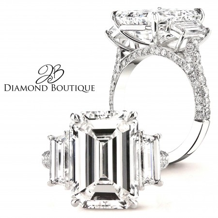 PLATINUM DIAMOND SEMI MOUNT FOR 8CT EMERALD DIAMOND