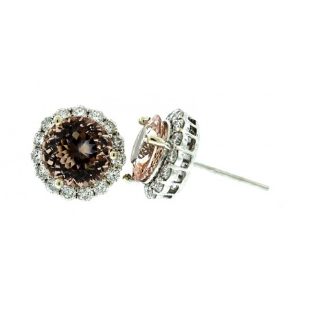 18K WHITE GOLD 4.85 CARATS MORGANITE AND DIAMOND EARRINGS