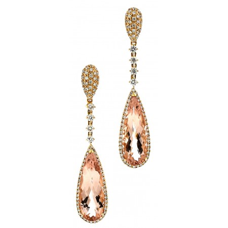18K ROSE GOLD MORGANITE AND DIAMOND DROP EARRINGS