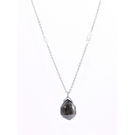 18K White Gold Grey Diamond Pendant