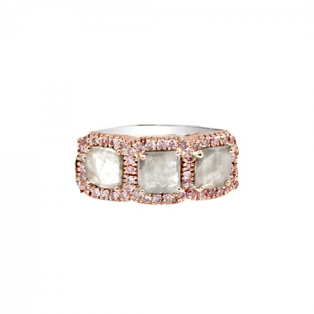 18K White and Rose Gold Grey Diamond Slice Ring