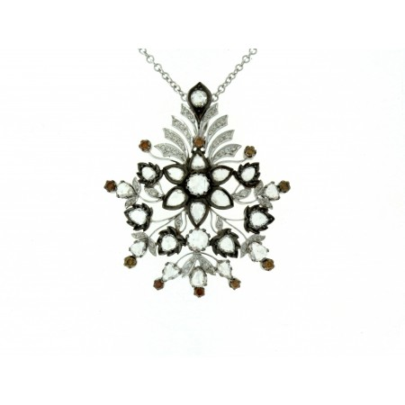 18K White Gold Diamond Pendant with Orange Diamond Accents