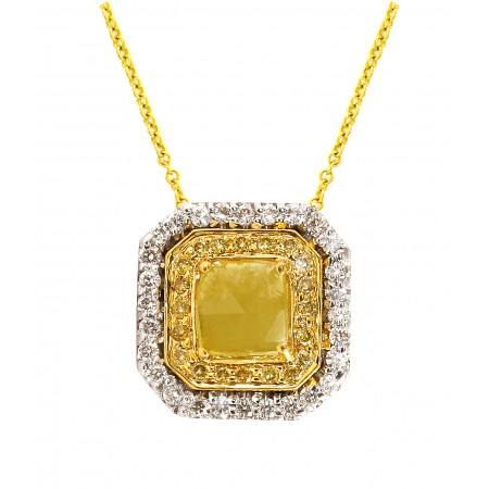 18K WHITE AND YELLOW GOLD YELLOW SLICED DIAMOND PENDANT
