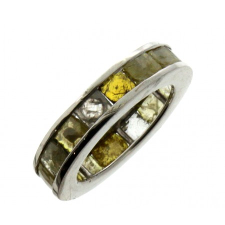 18K White Gold Yellow Diamond Slice Eternity Band
