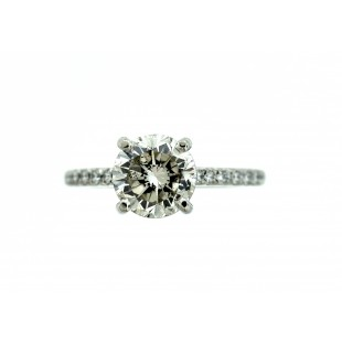 LADIES PLATINUM AND 18K WHITE GOLD PETITE FRENCH  CUT DIAMOND ENGAGEMENT RING