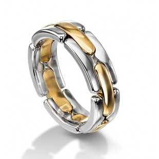 18K WHITE GOLD AND 18K ROSE GOLD COMBINATION LINK RING