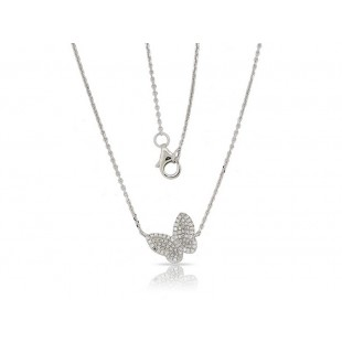 14K WHITE GOLD DIAMOND BUTTERFLY NEKLACE