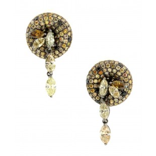 18K CHAMPAGNE, YELLOW, BLACK AND WHITE DIAMOND CONFETTI EARRINGS