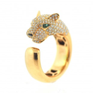 18K ROSE GOLD PAVE DIAMOND & EMERALD LIONESS RING