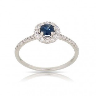 LUVENTE Sapphire and Diamond Ring - 14K White Gold