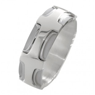 MEN'S 18K WHITE GOLD CROSS PATTERN DESIGNER WEDDING BAND