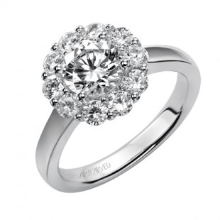 14K White Gold Round Halo Engagement Semi Mount