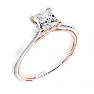 14K White and Rose Gold Solitaire Semi Mount for 1 Carat Princess Cut