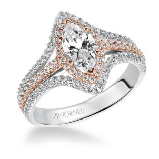 14K White and Rose Gold Double Marquise Halo Semi Mount