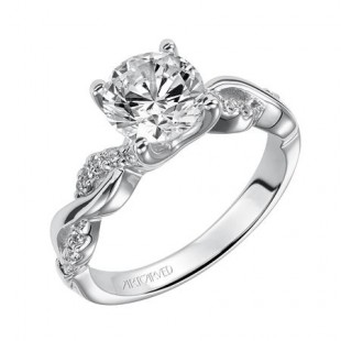 14K White Gold Diamond Engagement Ring Semi Mount with Twist Band Design