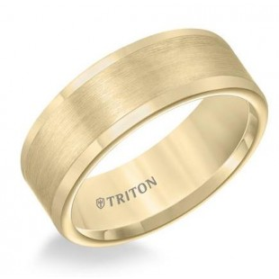 8mm Tungsten Satin Finish Flat Center with Bright Polish Round Edges Comfort Fit Wedding Band