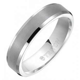 4MM Tungsten Satin Finish Flat Top with Bright Polish Bevel Edge Comfort Fit Band