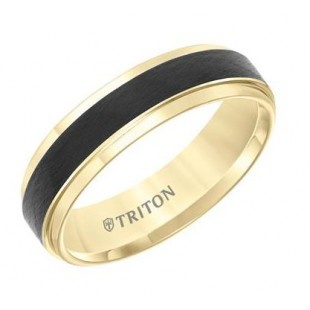 6MMTungsten Comfort Fit Two Tone Men's Band with Black Crystalline Finish Center and Yellow Step Edge