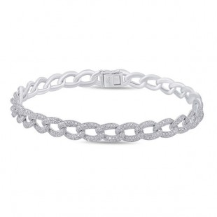 "7"" 14K White Gold Diamond Link Bracelet"
