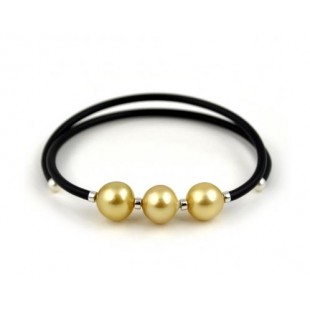 Pearl and Stainless Steel Bracelet - Rubberized