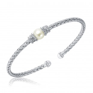 STERLING SILVER WOVEN CUFF WITH 1 FRESHWATER PEARL AND 2 ROUND HEARTS AND ARROW DIAMONDS