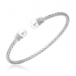 STERLING SILVER WOVEN CUFF WITH  2 FRESHWATER PEARL AND 2 ROUND HEARTS AND ARROW DIAMOND