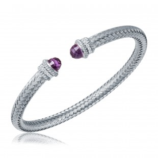 STERLING SILVER DIAMOND AND AMETHYST CUFF WITH ROUND HEARTS AND ARROWS DIAMONDS