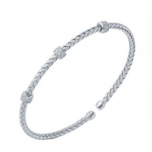 STERLING SILVER WOVEN  CUBIC ZIRCONIA STACKABLE CUFF