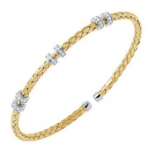 Charles Garnier STERLING SILVER 3MM MESH CUFF WITH 18K YELLOW GOLD FINISH