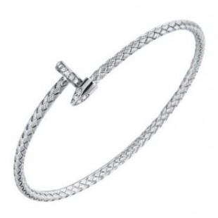 STERLING SILVER WOVEN BYPASS NAIL CUFF WITH CUBIC ZIRCONIA'S AND RHODIUM FINISH.