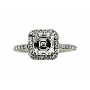 Platinum 1.01 ct Asscher Cut Diamond Engagement Ring