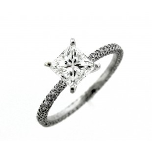 18K 1.11 ct Princess Cut Diamond Engagement Rng