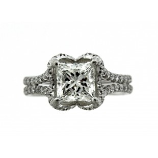 18K 1.25 ct Princess Cut Diamond Engagement Ring
