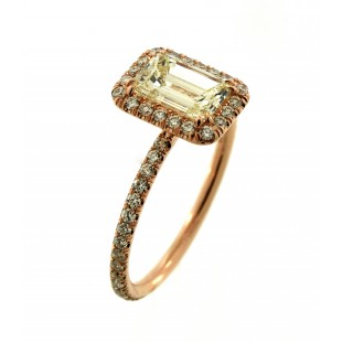 18K ROSE GOLD 1.03CT EMERALD CUT DIAMOND ENGAGMENT RING