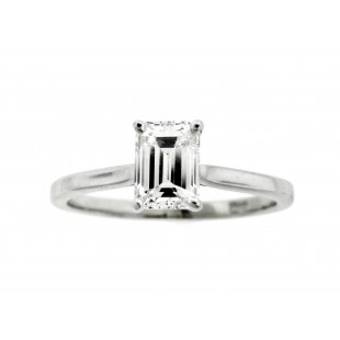 14K 1.14ct Emerald Cut Diamond Engagement Ring