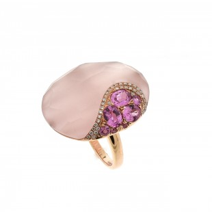 Rose Quartz, Pink Sapphire and Diamond Ring - 14K Rose Gold