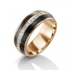 Furrer Jacot Carbon Fiber Men's Wedding Band with Diamonds