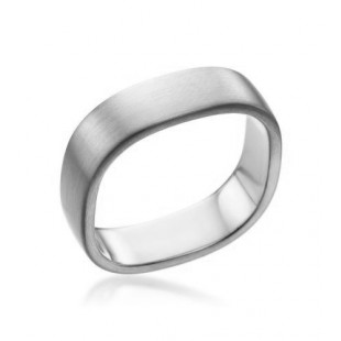 MEN'S PLATINUM SQUARE SHANK SATIN FINISH WEDDING BAND