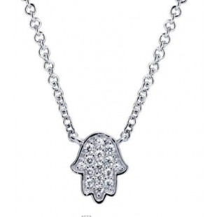 "17"" 14K WHITE GOLD DIAMOND HAMSA NECKLACE"