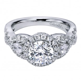 14k White Gold Diamond 3 Stones Halo setting for 1.25 carat Diamond
