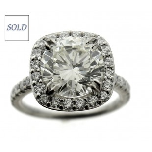 3.87 Carat Round Brilliant Diamond Engagement Ring