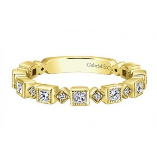 Gabriel and Co. 14k Yellow Gold Diamond Stackable Band