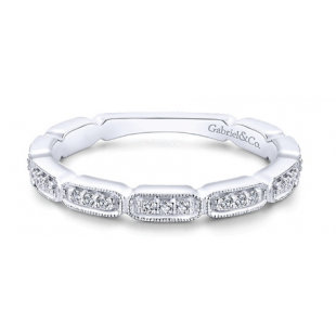 Gabriel and Co. 14k White Gold Diamond Stackable Band